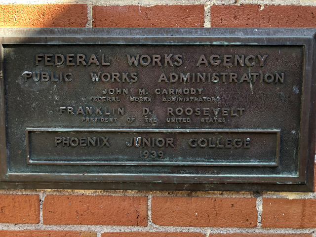 Federal Works Agency Plaque on A Building