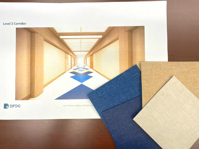 Image of new hallway design and vinyl tile pieces