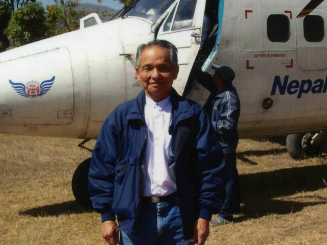 Dr Myint at Nepal airport