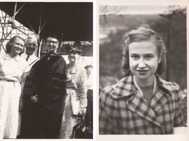Black and white images of Dr. Katherine McLean as young woman