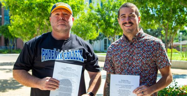 Magdaleno Perez, Student, and Cody Wilson, Creative Writing Instructor Space2Inspire, PC Winners